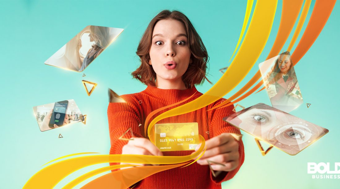 credit card innovation, woman in orange holding out a credit card
