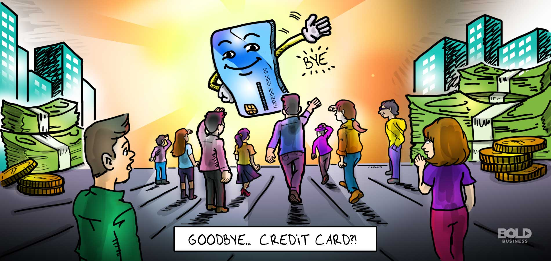 a cartoon of credit card waving goodbye to its users