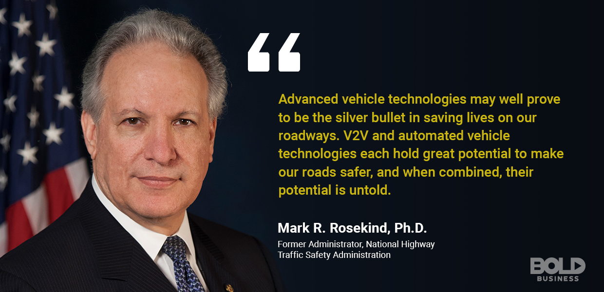 a photo quote of Mark R. Rosekind amidst current innovations in transport systems like V2X technology