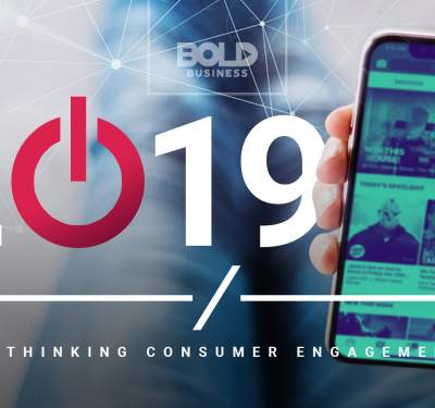 """a photo of a phone beside the year """"2019"""" with the zero as a power button amidst the talks about brands rethinking consumer engagement strategies"""