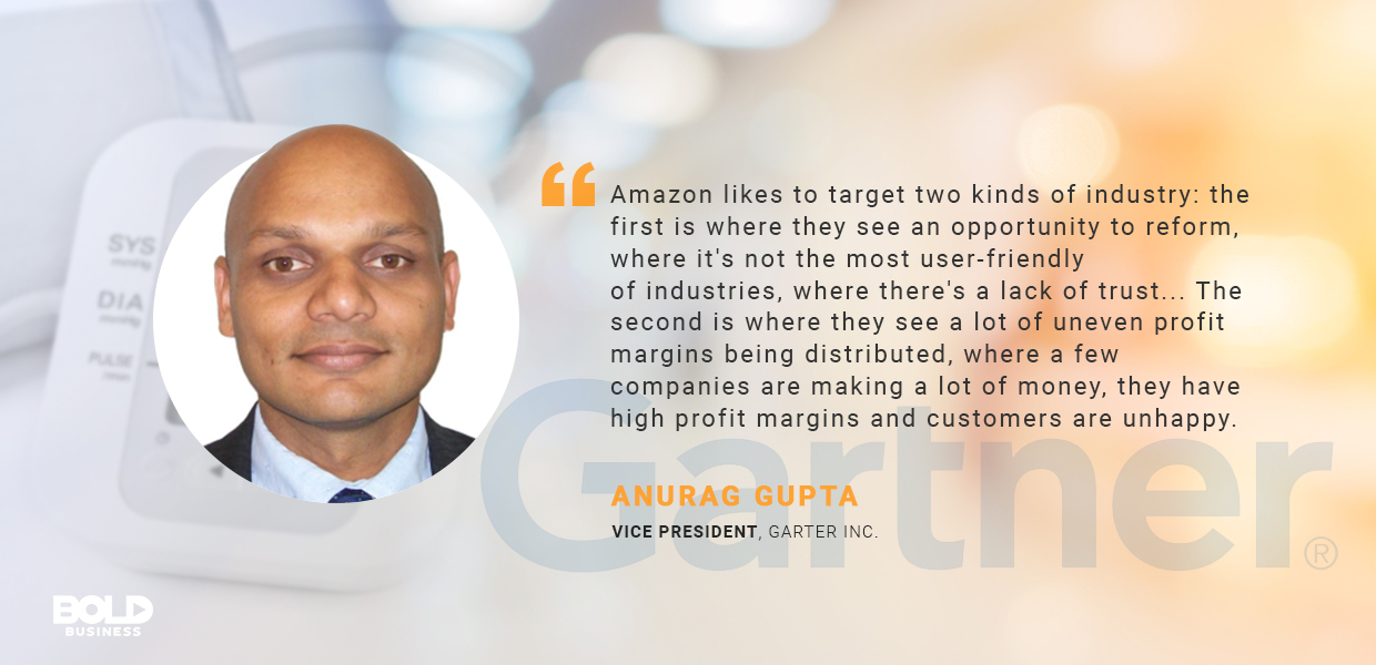 a photo quote of Anurag Gupta amidst talks about an Amazon Healthcare Company