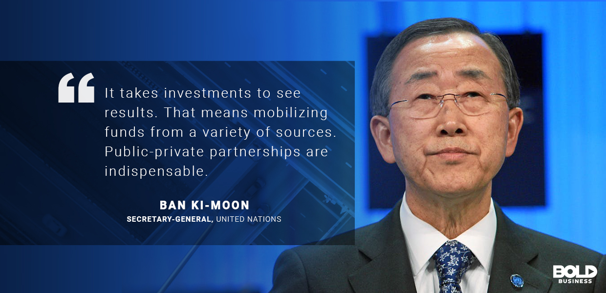 a photo quote from Ban Ki-Moon on sustainable transport solutions and sustainable transportation infrastructure