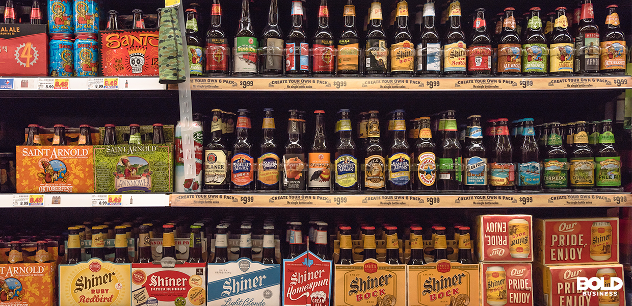 a photo of a shelves filled with different kinds of beers in the thick of the rise of brewery analytics and predictive analytics today