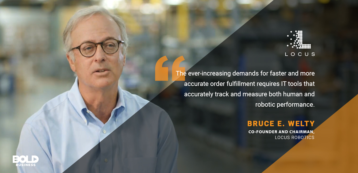 a photo quote of Bruce E. Welty amidst several companies' recognition of the advantages of robots and the progress in supply chain automation today