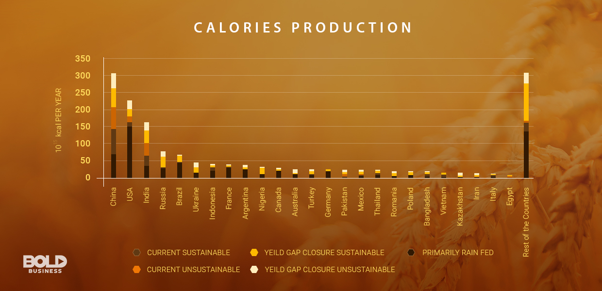 global food security - calories production chart