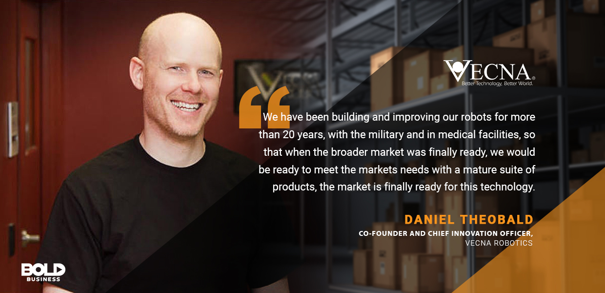 a photo quote of Daniel Theobald amidst the progress in supply chain automation and several companies' recognition of the advantages of robots today