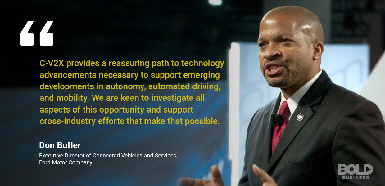 a photo quote of Don Butler amidst current innovations in transport systems like V2X technology