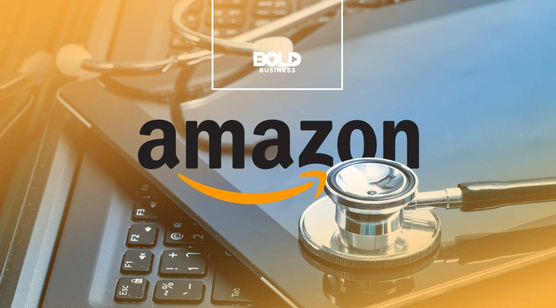 a photo of Amazon's logo beside a stethoscope on top of an ipad and a keyboard amidst talks about an Amazon Healthcare Company