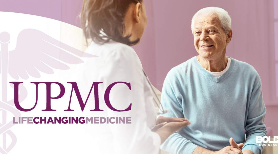 a photo of the University of Pittsburgh Medical Center logo beside a doctor talking with an elderly employee