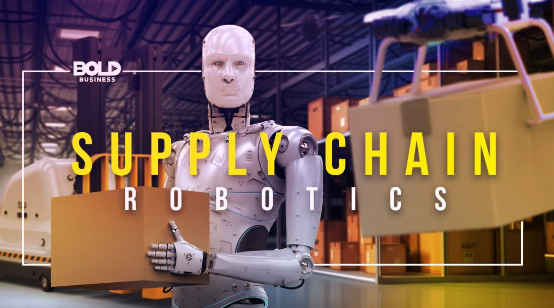 a photo of a robot holding a box, depicting the fact that companies are seeing the advantages of robots amidst the progress in supply chain automation today