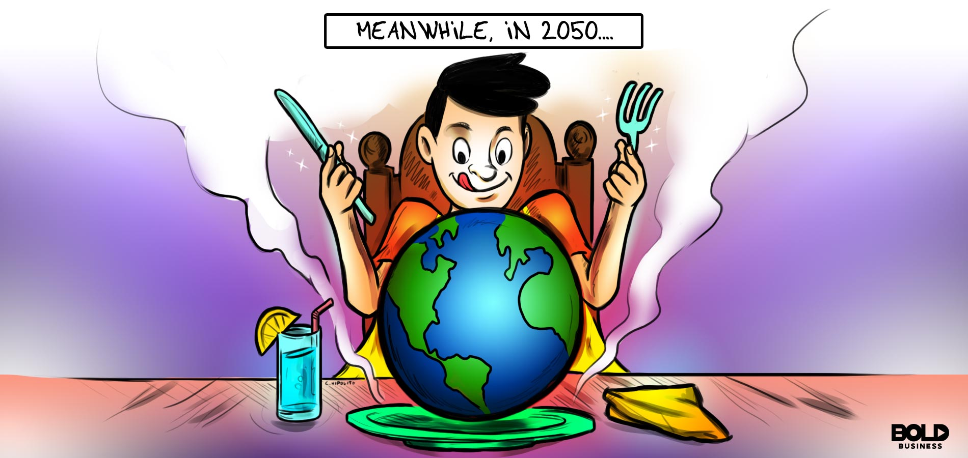 global food security cartoon of a man holding a fork and knife with a globe on a plate in front of him