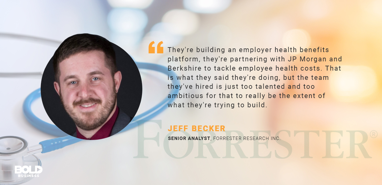 a photo quote of Jeff Becker regarding Amazon Healthcare Company and at-home health diagnostics