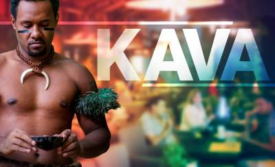 a photo of a Fiji native holding a cup of kava and beside him is a shadowy silhouette of people drinking kava in one of the Kava bars in the US