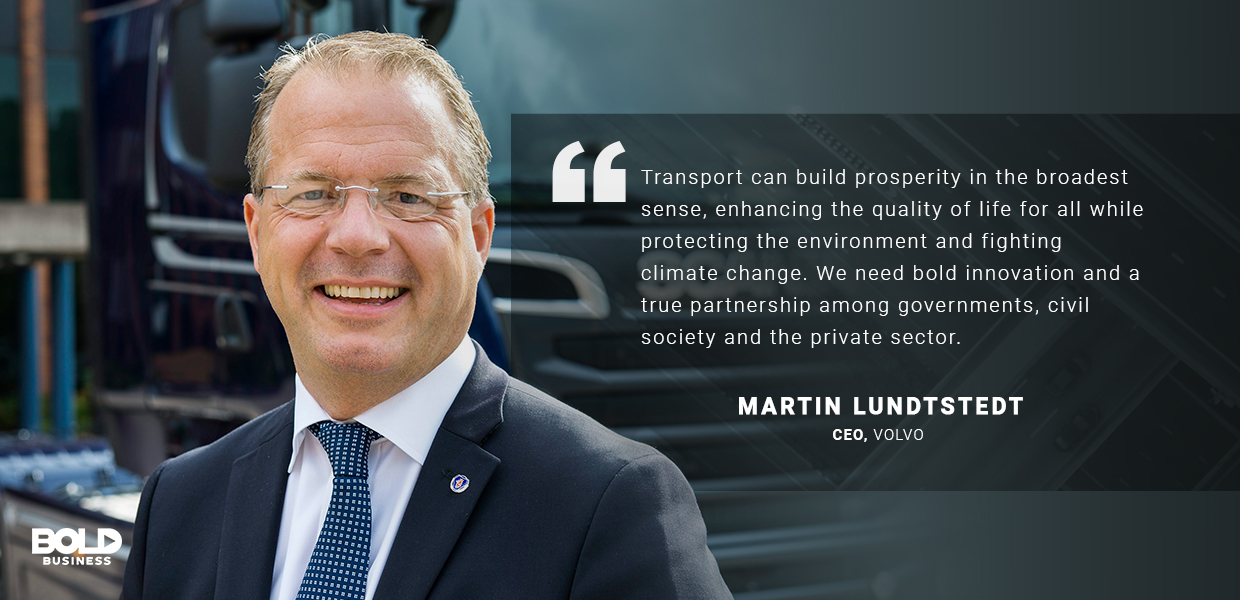 a photo quote from Martin Lundstedt on the discussion of sustainable transport solutions