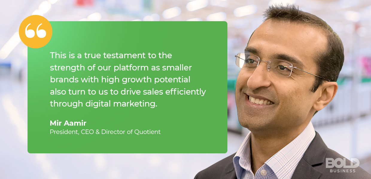 digital coupon providers quotient ceo Mir Aamir quoted about company's strength