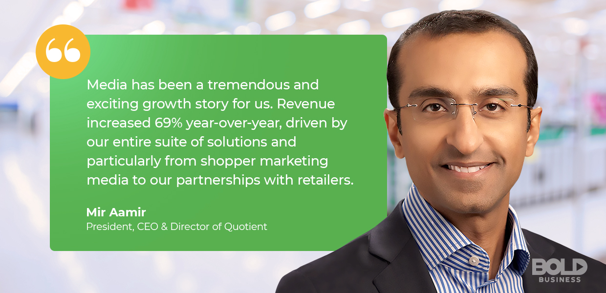 digital coupon providers, quotient president and ceo Mir Aamir quoted about partnerships with retailers