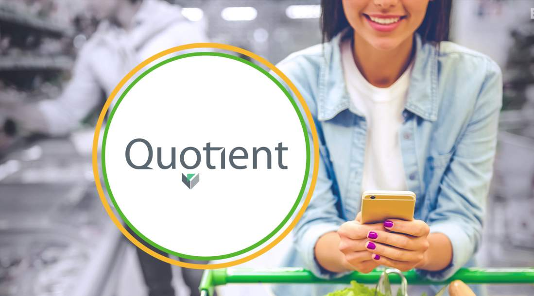 Digital Coupon Providers Quotient logo, woman on the right checking digital coupon