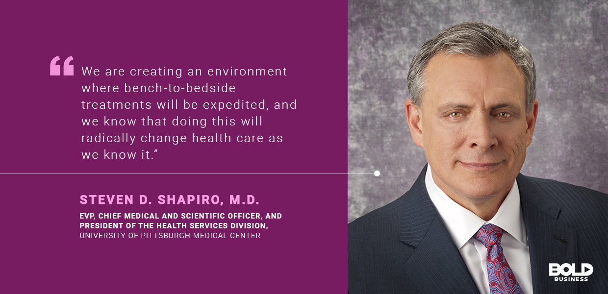 a photo quote of Steven D. Shapiro in relation to the innovative healthcare ideas of the University of Pittsburgh Medical Center