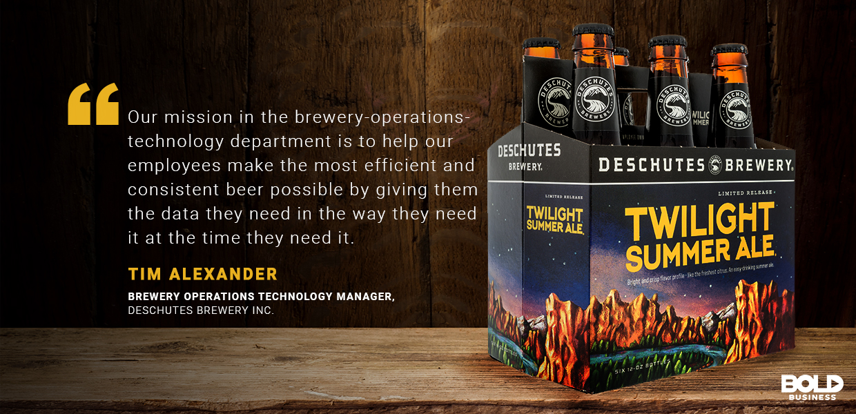 a photo of Tim Alexander's quote about his company's mission amidst the discussion of brewery analytics