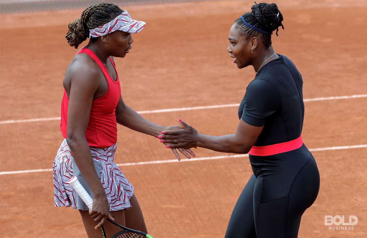 Serena and Venus Williams are ambassadors in diversity in professional sports as shown with them celebrating