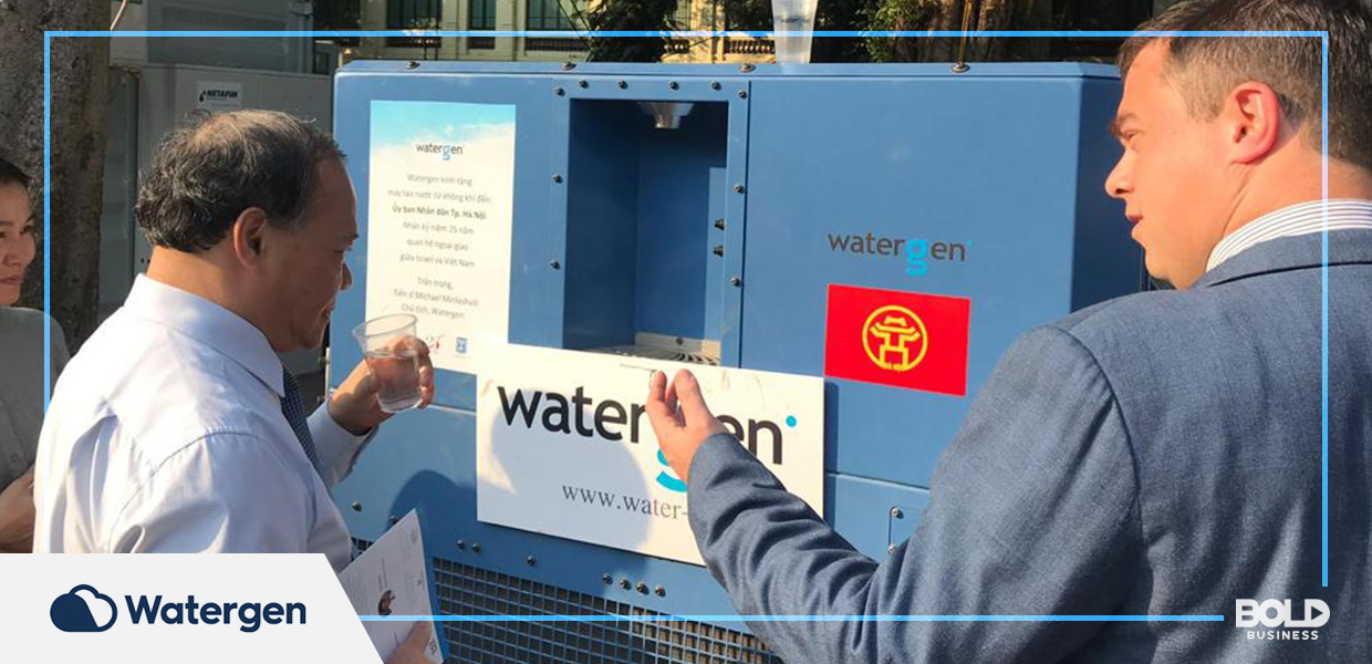 underserved niche markets, a man trying a plastic cup of water from a watergen machine