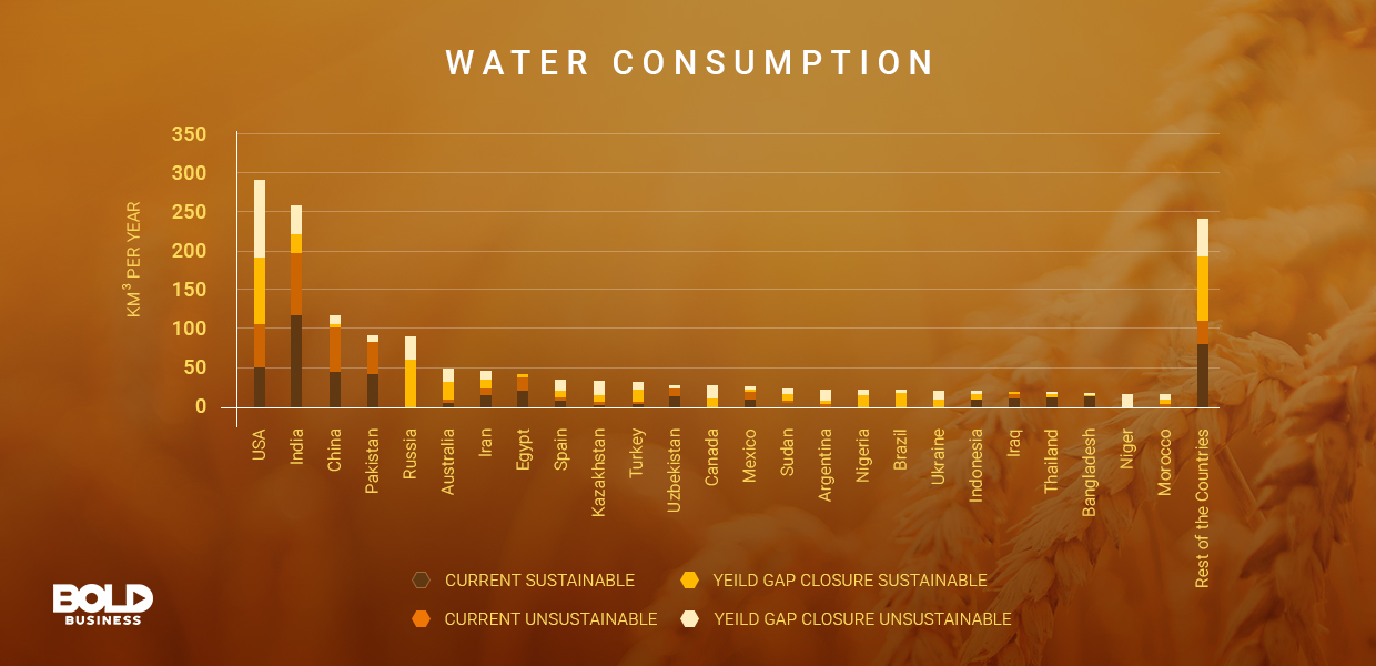 global food security, water consumption chart