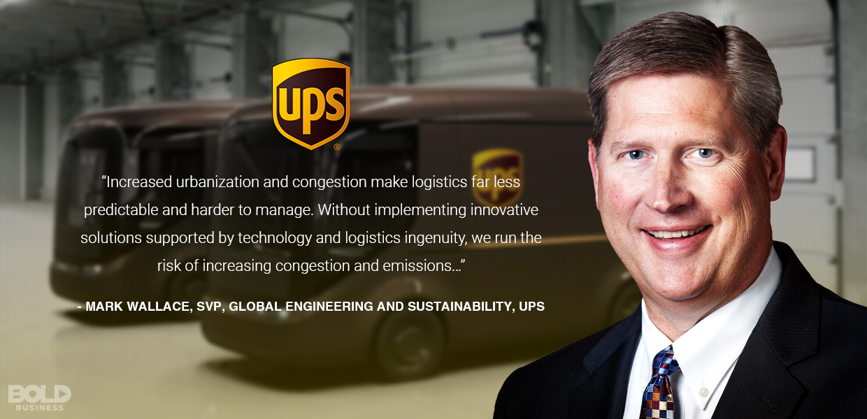 a photo quote from Mark Wallace, SVP UPS on the discussion of urban transport problems and solutions