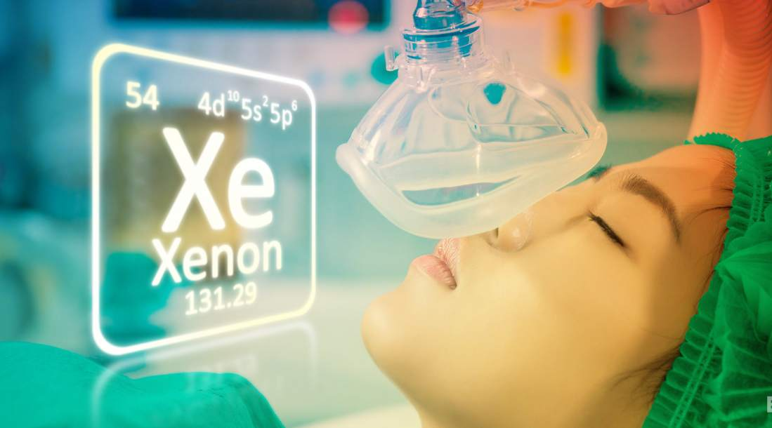 a photo of a post-cardiac arrest patient undergoing xenon gas therapy beside a photo of the chemical properties of the element, xenon