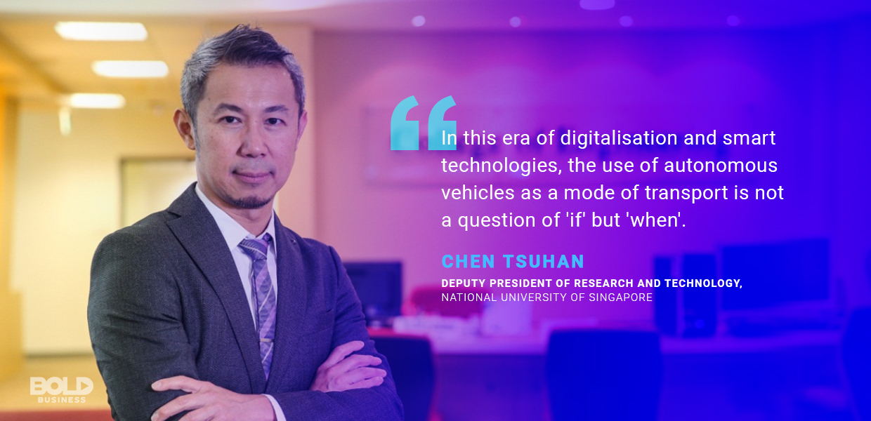 a photo quote of Chen Tsuhan on the discussion of self-driving car technology or autonomous vehicle technology