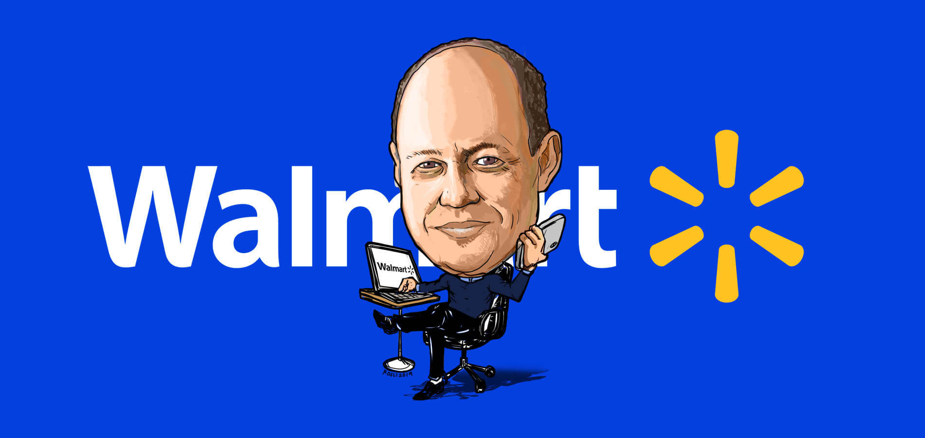 Clay Johnson Walmart CIO and EVP of Global Business Services Caricature