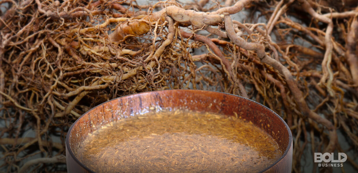 What is kava. This is a photo of a coconut shell bowl filled with kava beside kava roots amidst the rise of Kava bars in the US