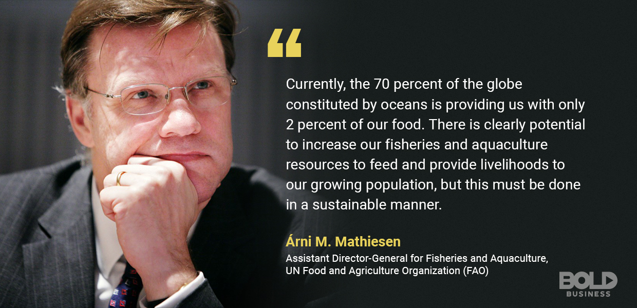 a photo quote from Árni M. Mathiesen amid the discussions about aquaculture and fisheries and aquaculture sustainability