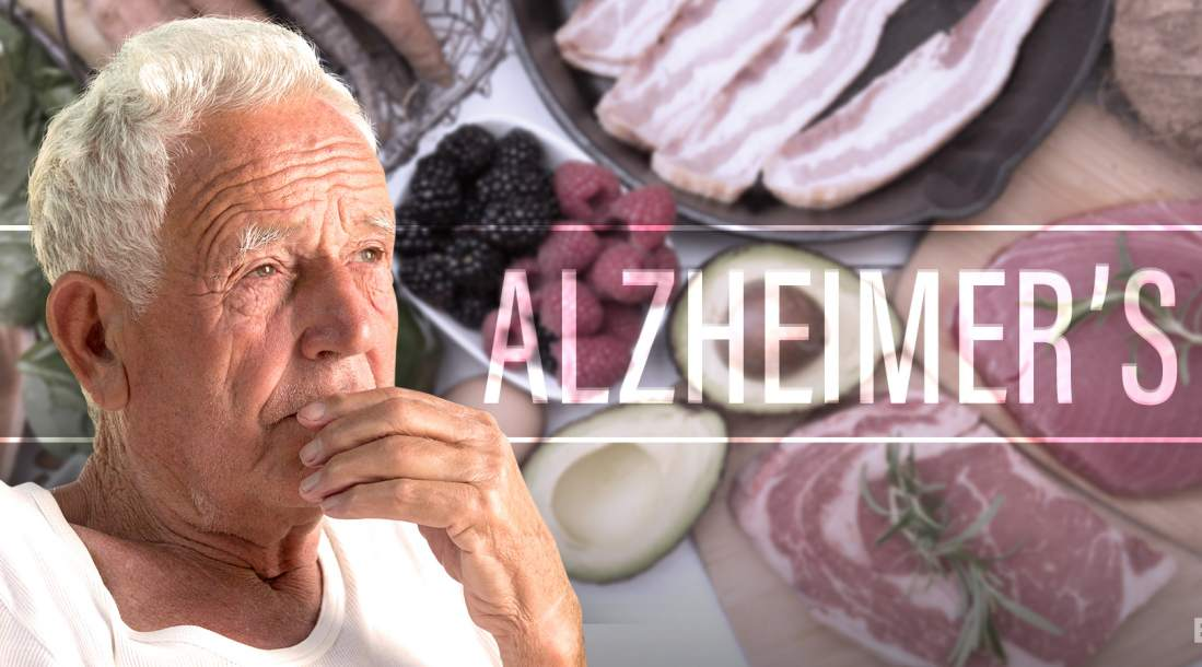 a photo of an elderly man set on a background photo of different kinds of food amid the ongoing talks concerning the risks of Alzheimer's disease