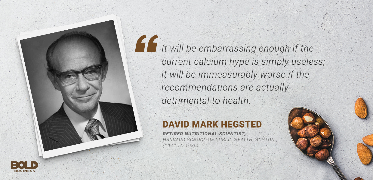 a photo quote of David Mark Hegsted in connection to the talk about dairy versus non-dairy alternatives or dairy-free alternatives