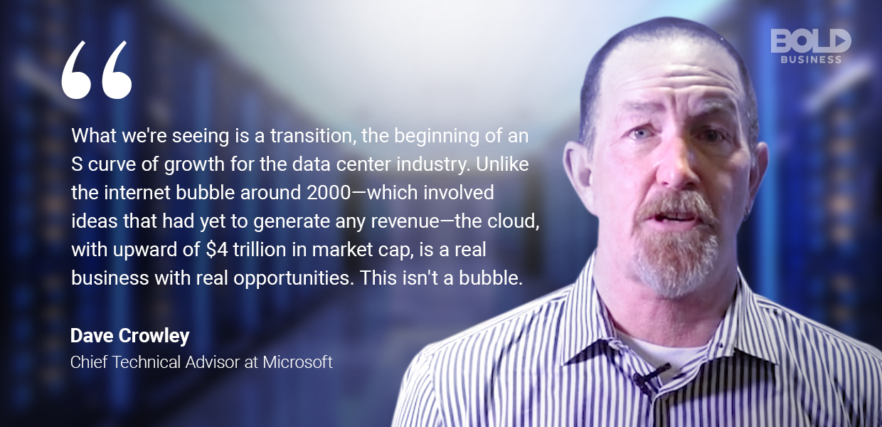 a photo quote of Dave Crowley about the reality of data center technology trends