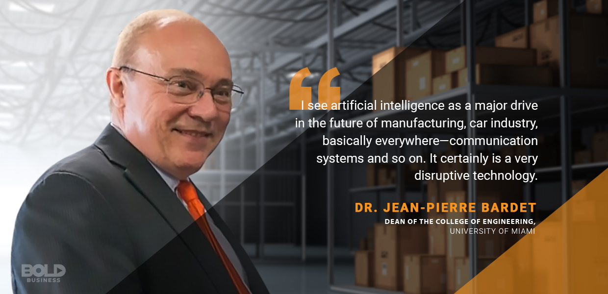 a photo quote of Dr. Jean-Pierre Bardet amidst the progress in supply chain automation and several companies' recognition of the advantages of robots today