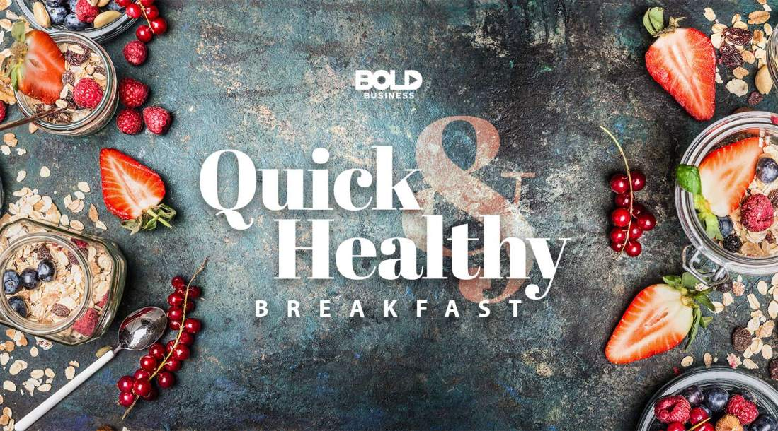 a photo of a granite table filled with different kinds of fresh berries, oats and nuts, showing that quick and healthy breakfast options are on the rise today