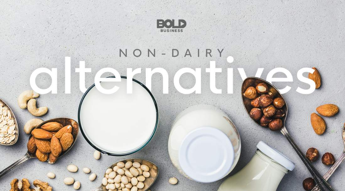 a photo of different sources of non-dairy alternatives or dairy-free alternatives, such as almonds, oats, soy, etc.