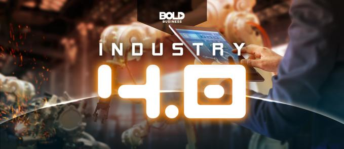 "a photo of a man holding up a tablet screen set against a blurred background of a robot building mechanical things with the words ""Industry 4.0"" to show the reality of the Fourth Industrial Revolution and symbolize the innovations of the industrial revolution"