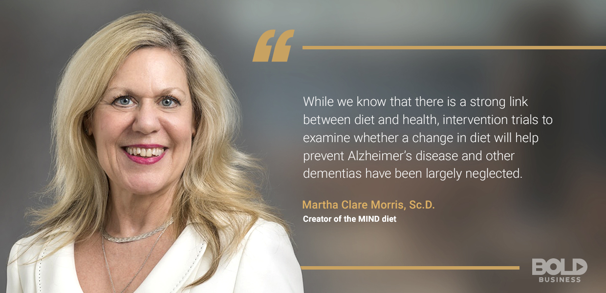 a photo quote from Martha Clare Morris amid the ongoing talks concerning the risks of Alzheimer's disease as well as the discussion on how to avoid dementia