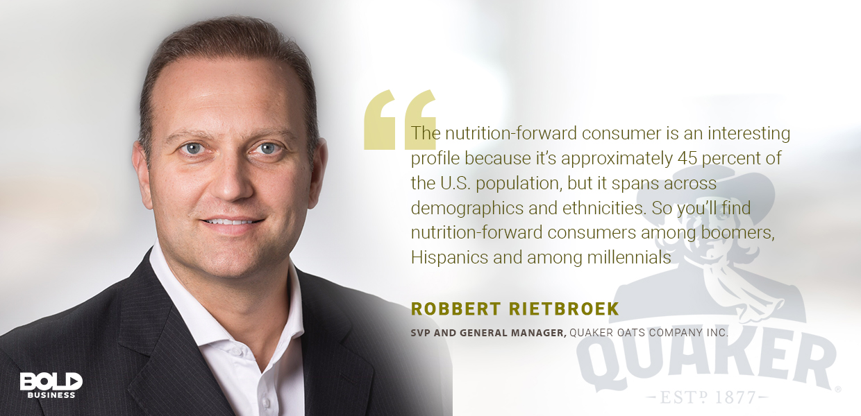 a photo quote of Robbert Rietbroek in connection to the fact that quick and healthy breakfast alternatives are on the rise