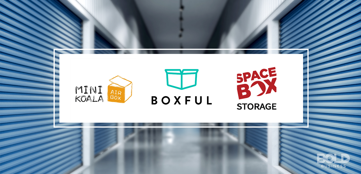 a photo of three self-storage industry companies' logos with the aisle of multiple commercial storage spaces set as a background amid the growing and resilient self-storage industry and the importance of self-storage industry data today