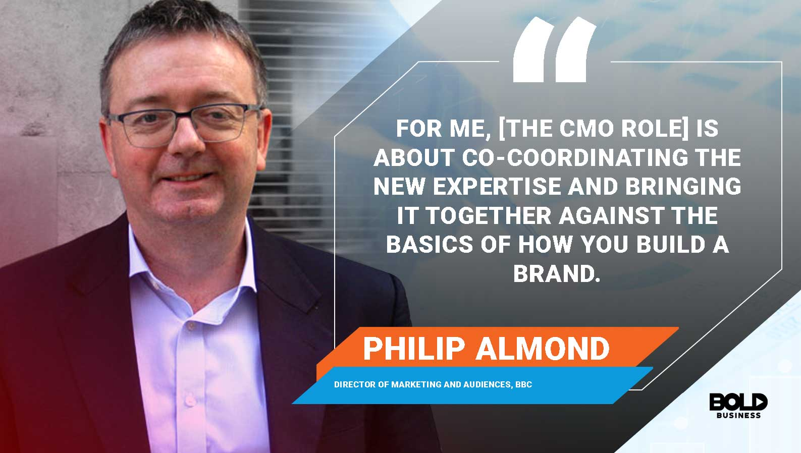 a photo quote of Philip Almond on the important role of top chief marketing officers or top marketing executives