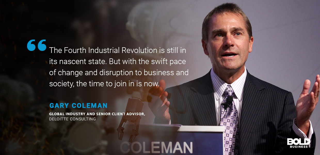 a photo quote of Gary Coleman in relation to the advantages and disadvantages of the fourth industrial revolution