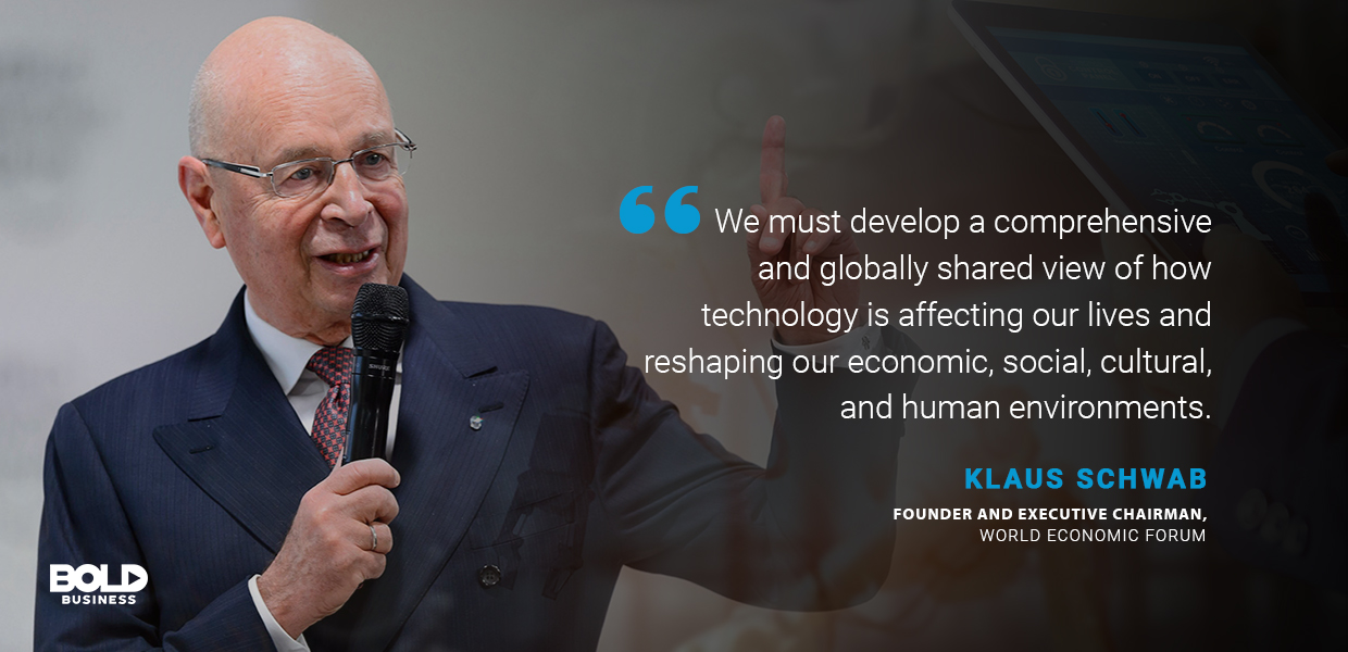 a photo quote of Klaus Schwab in relation to the advantages and disadvantages of the fourth industrial revolution