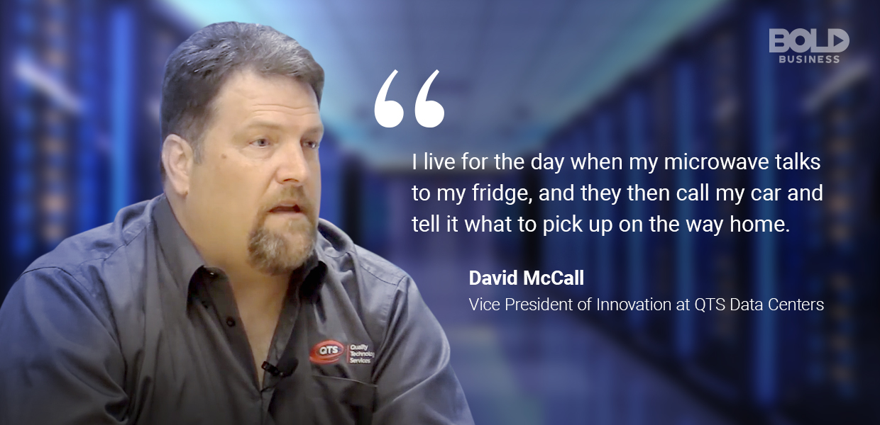 a photo quote of David McCall about the reality of data center technology trends
