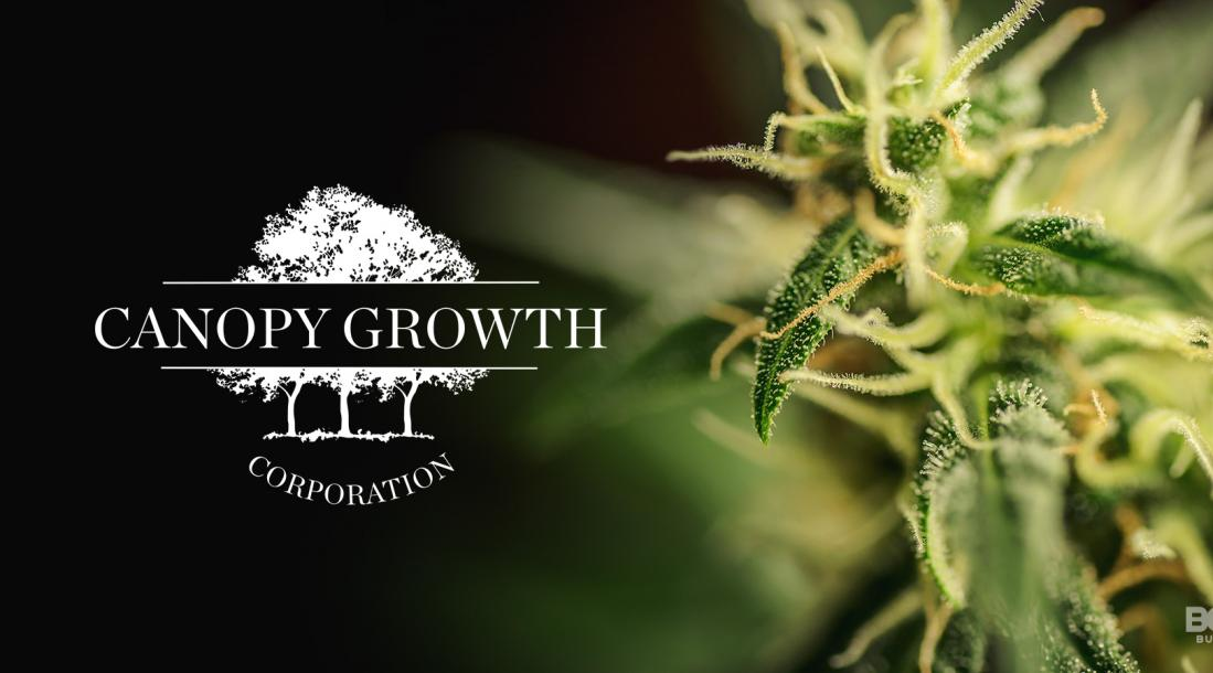 a photo of Canopy Growth Corp. full company name beside an image of a cannabis plant