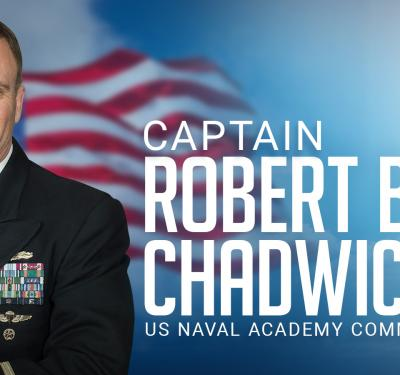 Captain Chadwick, naval academy commandant is a bold leader.