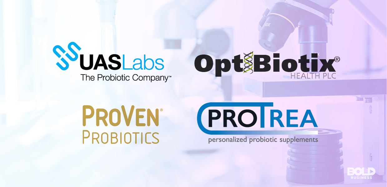 a photo with the company names with a translucent background image of a microscope used in the ongoing research about the question whether probiotics lower cholesterol levels or not