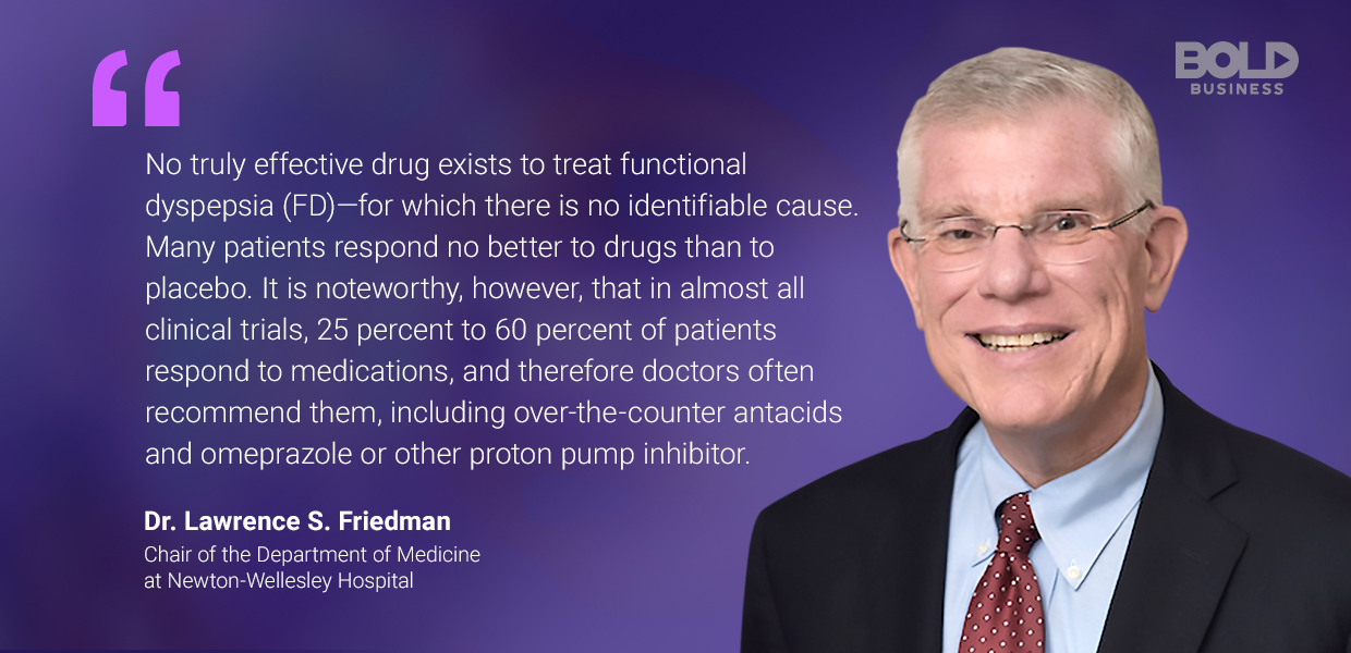 a photo quote of Lawrence Friedman amid the discussions on functional dyspepsia treatment and gut health